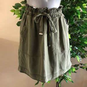 NWT:  small olive green paper bag skirt with ties